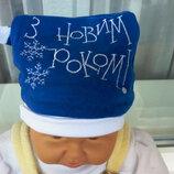 продам новую утеплённую шапочку на малыша с вышивкой С Новым роком