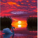 Картина по номерам. Brushme Лебедь на закате GX29423. Брашми.