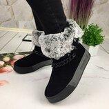 Женские зимние ботинки, замша