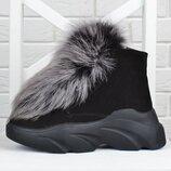 VIP Ботинки женские зимние замшевые на платформе Queen песцовый мех на овчине