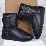 Угги мужские кожаные зимние сапоги UGG Australia черные на липучке