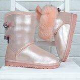2-в-1 натуральные Угги на девочку кожаные на овчине сапоги ботинки розовые с бантами