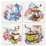 Набор для росписи по номерам. Полиптих Цветочный кофе 4шт 18 18 KNP018