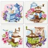 Набор для росписи по номерам. Полиптих Цветочный кофе 4шт 18 18 KNP018. Картина по номерам.