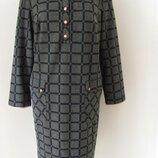 Платье красивое ровное с длинным рукавом,в модную клетку, офисное, размер 52 код 4870М