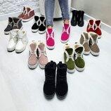 Акция Универсальные натуральные кожаные зимние женские ботинки слипоны на шнуровке