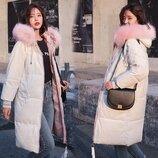 Женский удлиненный зимний бархатный пуховик, парка, куртка молочный