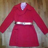 шерстяное красное пальто на запах размер М-Л