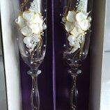 Свадебные бокалы.Богемское стекло. BOHEMIA, Чехия , 190 мл.