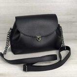Молодежная сумка через плечо кросс боди маленькая черная с клапаном