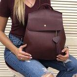 Бордовая сумка-рюкзак через плечо молодежная городская с сердцем