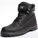 Зимние кожаные ботинки на меху CAT Caterpillar Military Boots