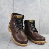 Ботинки зимние подростковые Monster, натуральная кожа, коричневые