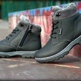 Детские подростковые зимние кожаные ботинки молния прошиты мех . Супер качество в наличии