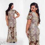 Шикарное вечернее нарядное платье, итальянский гипюр кружево. Большие размеры 50-56. Батал