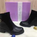 Ботинки женские зимние Джулия черные зима кожа натуральная
