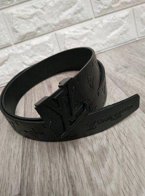 Ремень кожаный чорный в стиле Louis Vuitton, Луи Виттон