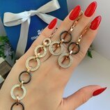 Жіночий срібний браслет з срібними сережками, женский серебряный браслет и серебряные серьги