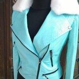 Куртка из натуральной кожи питона с воротником из натурального меха норки