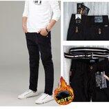 Качественные теплые штаны на флисе брюки в школу мальчик Венгрия черные и синие