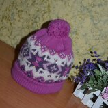 Шапка 42/48 см, детская зимняя шапка, шапка на флисе, розовая шапка с бубоном, шапка, теплая шапка