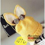Желтая зимняя шапка с ушками р.45-52