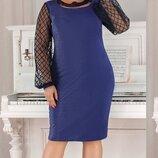 Нарядное платье сетка рукав батал, Размеры 50,52,54,56.
