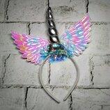 Ободок, обруч карнавальный Единорог с крыльями, серебро