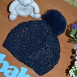 Деми шапка 6-12 мес., демисезонная шапка, шапка, шапка с бубоном, детская шапка, шапка для мальчика