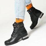 Стильные кожаные ботинки на шнуровке с декоративным каблуком, ботинки кожа деми