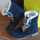 Timberland Зимние женские синие ботинки из натуральной кожи нубук
