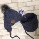 Набор на мальчика зимняя шапка хомут Grans 48-50