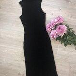 Платье рибана с люрексовой нитью, платье миди рубчик облегающее, платье гольф без рукавов