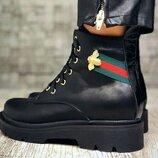 Gucci стильные кожаные черные ботинки зима 2019-2020 из натуральной кожи удобная подошва