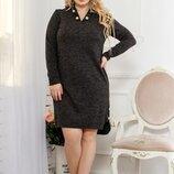 Платье женское Размеры - 48-52 Ткань - турецкая ангора-софт, эко-кожа