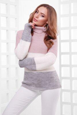 Нежный трехцветный вязаный свитер 44-52 - 6 расцветок///отправка сразу