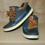 Кроссовки кеды детские синие с коричневым на мальчика р. 32 на шнурках