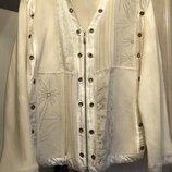 Шикарная кофта/бампер/пиджак/на молнии на 50% шерстяная с вышивкой 2 хл