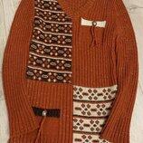 Тёплый зимний удлиненный свитер туника шерсть