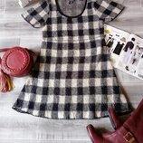 теплое вязаное мягкое зимнее платье клетка акрил сукня тепла осінь