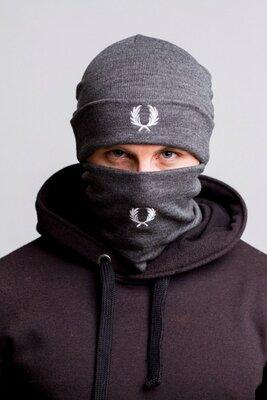 Комплект Fred Perry winter gray шапка и бафф