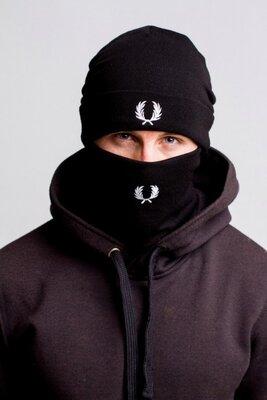 Комплект Fred Perry winter black шапка и бафф