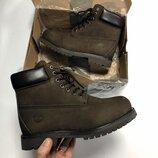 Мужские зимние коричневые ботинки timberland с мехом