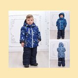 Зимний комбинезон для мальчика 3 цвета без опушки на флисе, раздельный на р. 92-110