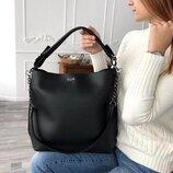 Черная сумка шоппер мешок с ручкой на плечо