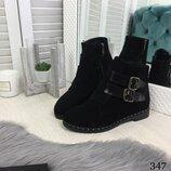 Зимние ботинки с ремешками