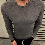 Стильная мужская кофта приталенная с узором на плече 2 цвета S-M-L-XL