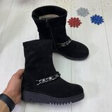 Зимние ботинки на танкетке, натуральная кожа и замш, внутри набивная шерсть