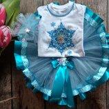 1-10 років шикарний набір святковий Сніжинка Снежинка, футболка юбка декор, багато кольорів Код юл