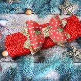 повязка на голову з оленями новорічна